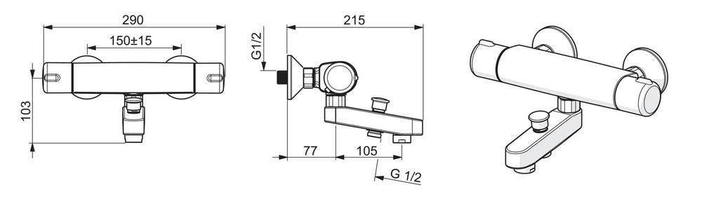Bateria termostatyczna Oras Nova 7442U prawa rysunek i schemat