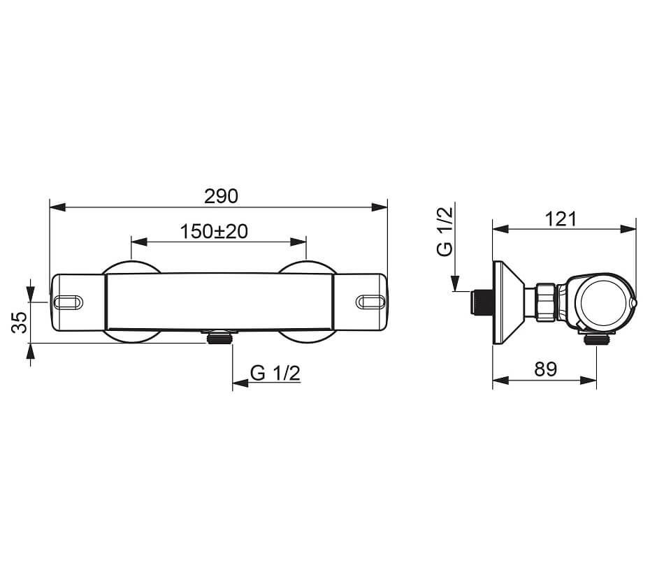 Rysunek i wymoary - bateria termostatyczna prysznicowa Oras Nova prawa