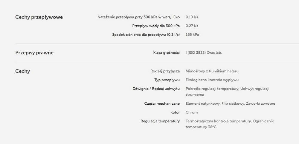 dane przepływowe baterii termostatycznej Oras Nova 7460U