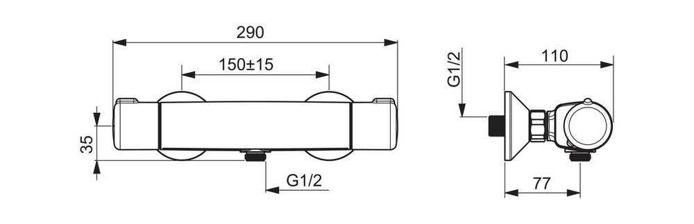 Bateria natryskowa termostatyczna Oras Nova - rysunek techniczny