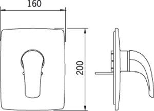 Element natynkowy baterii podtynkowej Oras Vienda wymiary