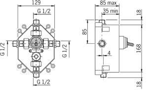 Element baterii podtynkowej Oras 1286 wymiary