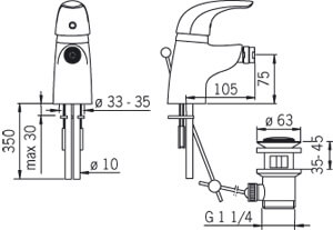Bateria bidetowa Oras Vienda 1718 rysunek techniczny