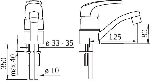 Bateria umywalkowa z obrotową wylewką Oras Safira 1015 rysunek