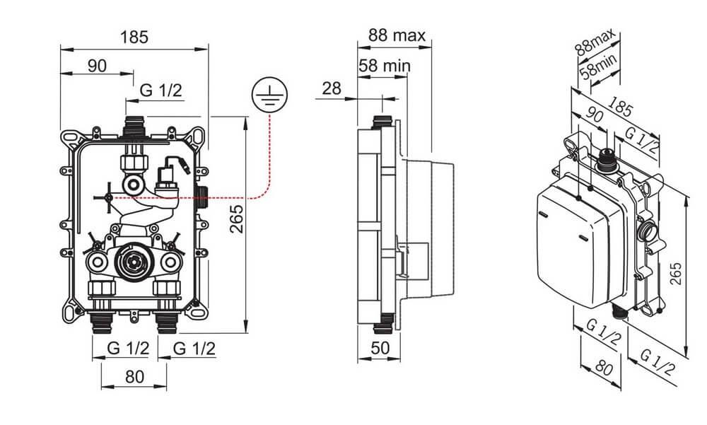 Bateria bezdotykowa podtynkowa Oras Electra 6227A rysunek