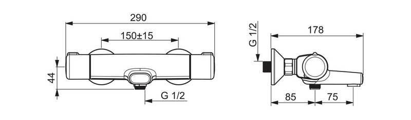 Rysunek baterii - bateria wannowa Oras Nova 7462U z wylewką