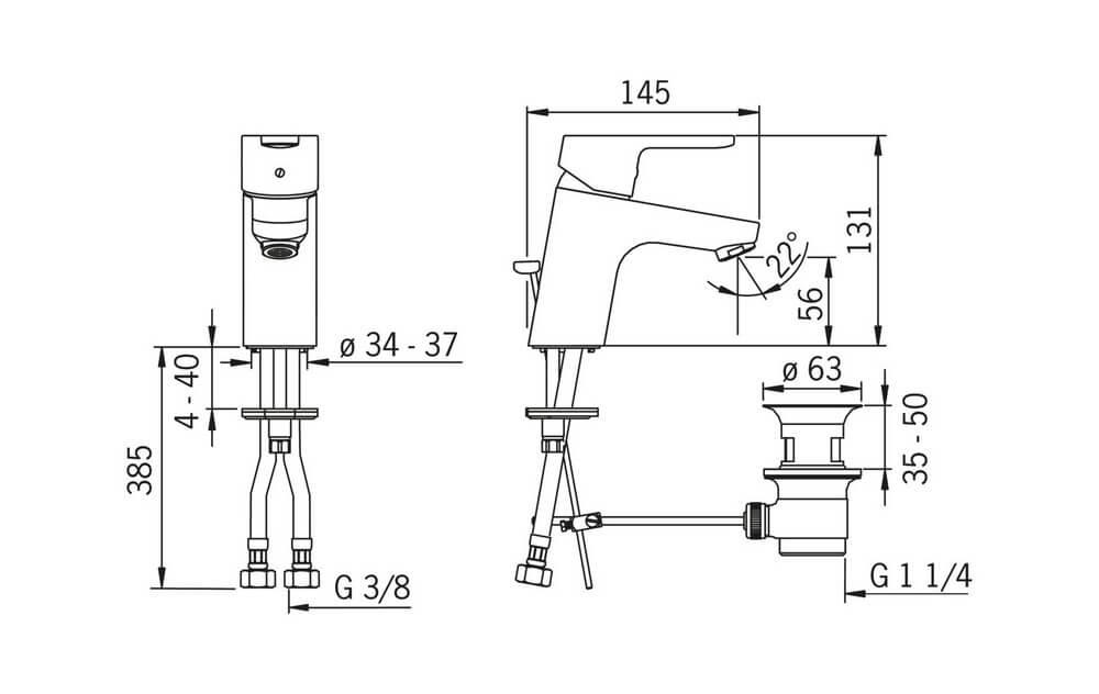 Oras Aquita 2900f rysunek techniczny schemat