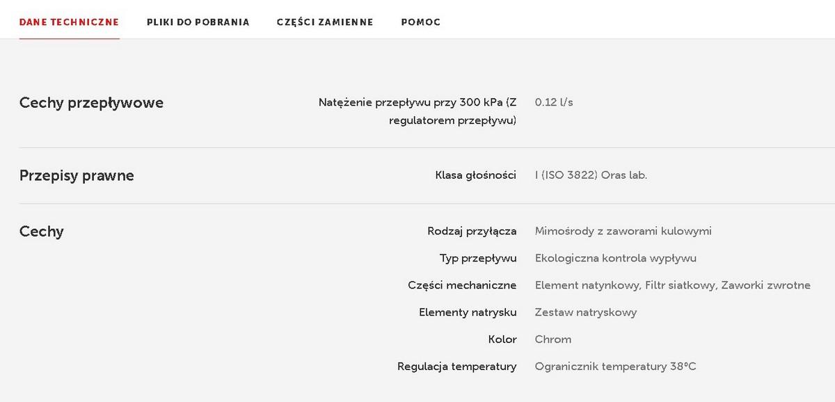 Zestaw prysznicowy Oras Nova 7452X cechy i dane techniczne